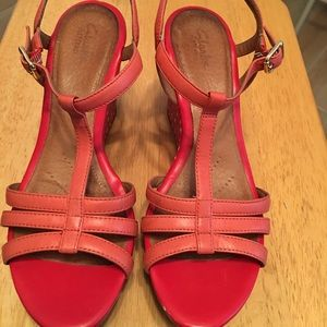 Clarks Orange Wedge Sandals